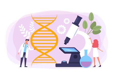Genetic DNA engineering presentation banner. Vector flat cartoon graphic design banner poster illustration
