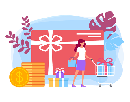 Happy smiling woman Selling shopping special offer card concept. Vector flat cartoon graphic design banner poster illustration