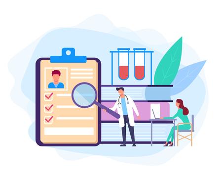 Medicine test examine education service concept. Vector flat cartoon graphic design banner poster illustration Иллюстрация