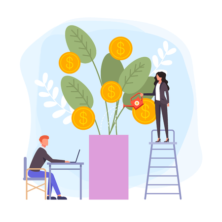 Business woman office worker watering money tree. Business success concept. Vector flat cartoon graphic design banner poster illustration
