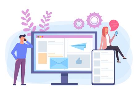 Online device targeting internet communication concept. Vector flat cartoon graphic design banner poster illustration