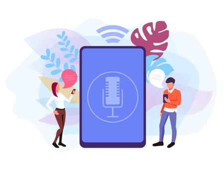 Voice control smart speaker concept. Vector flat graphic design isolated illustration