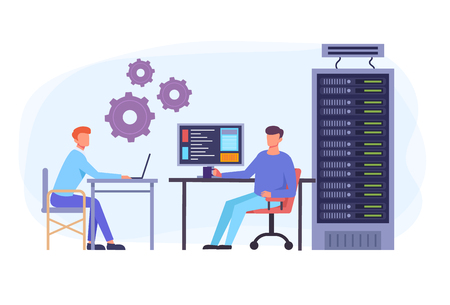 IT engineers team workers character and data center concept. Vector flat graphic design isolated illustration