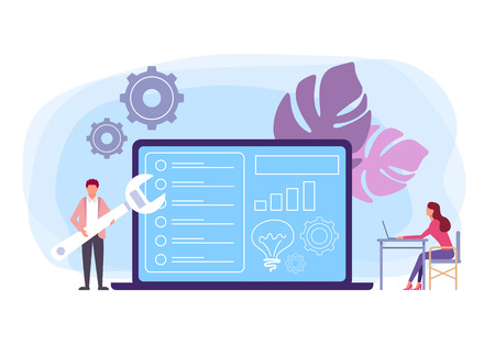 Technical support and problems solving concept. Vector flat graphic design isolated illustration Иллюстрация