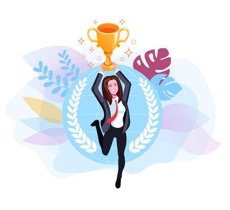 Business woman holding golden cup. Vector flat graphic design isolated illustration
