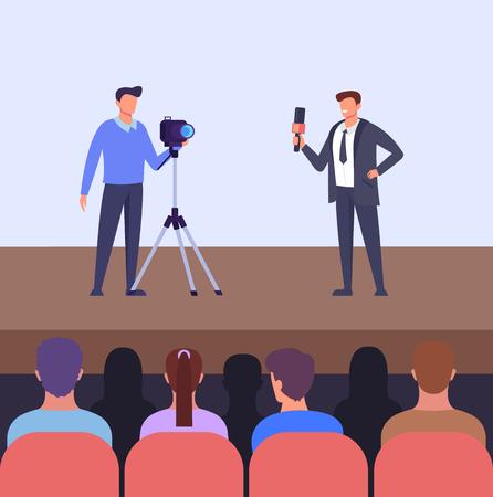 Press conference performance concept. Vector flat graphic design cartoon illustration