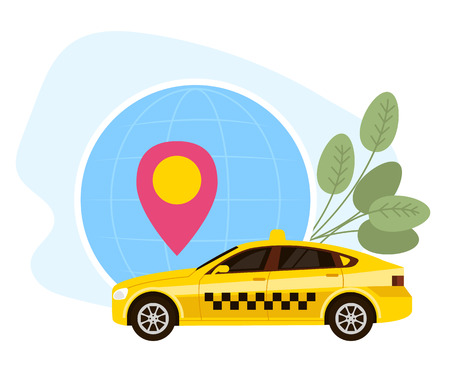 Yellow taxi cab service. Online transportation concept. Vector flat graphic design cartoon illustration