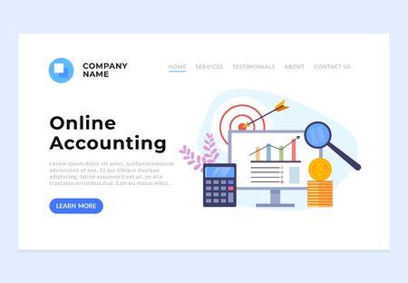 Online accounting banner web page concept. Vector flat graphic design cartoon illustration Ilustração