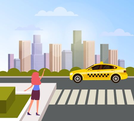 Woman character hitchhiking taxi cab on city town street. Vector flat graphic design cartoon illustration Ilustração