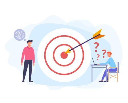 Business plan strategy developing. Teamwork concept. Vector flat graphic design cartoon illustration