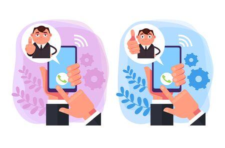 Call support management concept. Vector design graphic flat cartoon illustration