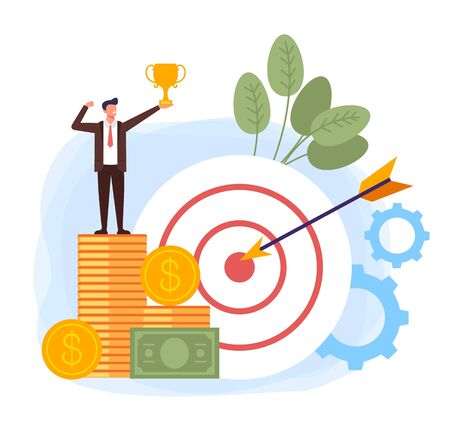 Businessman winner character sending on money. Successful business targeting planning concept. Vector flat cartoon design graphic illustration Illustration