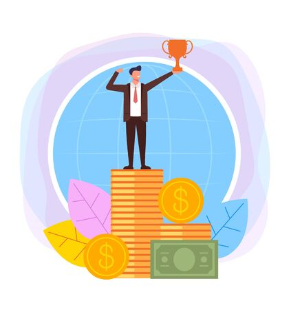 Businessman winner character standing on money. Successful business concept. Vector flat cartoon design graphic illustration