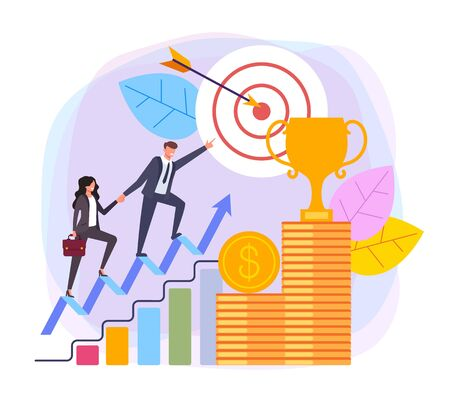 Business targeting leadership successful business concept. Vector flat cartoon design graphic illustration