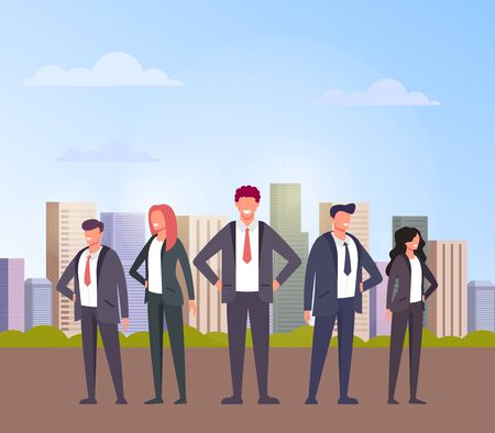 Business team office workers people concept. Vector flat cartoon design graphic illustration