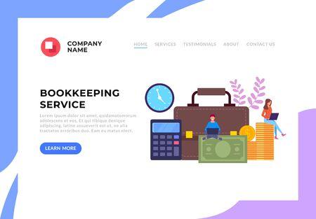 Online internet web bookkeeping web banner concept. Vector flat graphic design cartoon illustration Vektorové ilustrace