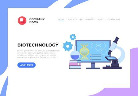 Biotechnology researching web banner concept. Vector flat graphic design cartoon illustration Illustration