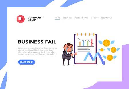 Pracownik biurowy biznesmen płacze o niepowodzeniu biznesu. Nieudana koncepcja plakatu transparentu firmy. Wektor graficzny ilustracja kreskówka płaska Ilustracje wektorowe