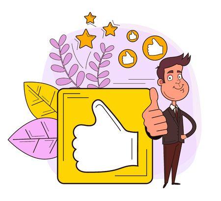 Feedback rating thumb up line art concept. Vector design graphic flat cartoon illustration Ilustración de vector