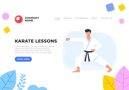 Karate lessons school service flat graphic design banner poster vector concept illustration