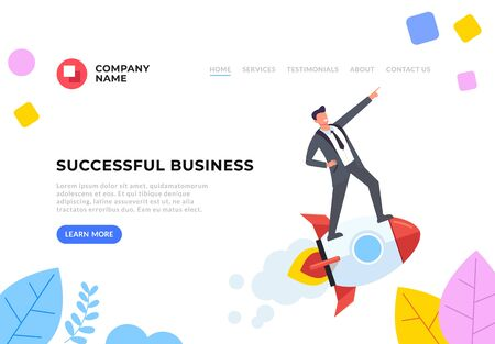 Successful business start up flat graphic design banner poster vector concept illustration