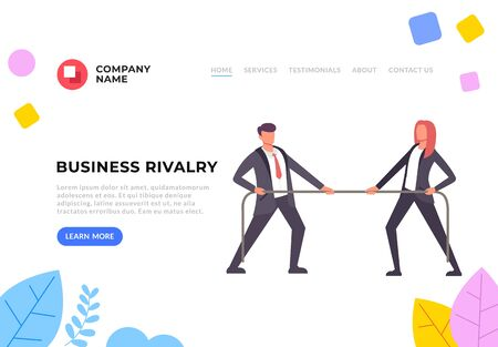 Rivalry in business flat graphic design banner poster vector concept illustration Illustration