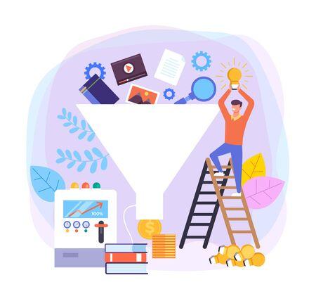 Sale funnel business ideas flat graphic design banner poster vector concept illustration