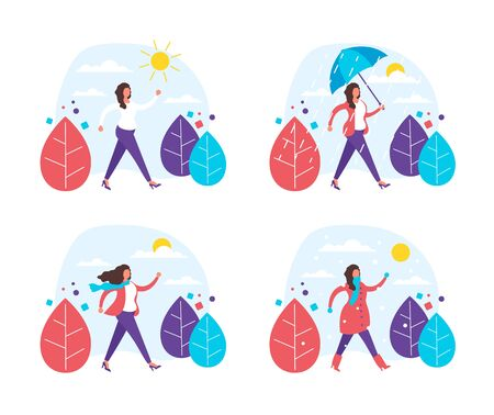 Different weather seasons concept. Vector flat graphic design illustration