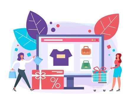 Online internet shopping concept. Vector flat graphic design illustration Illustration