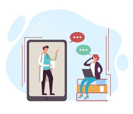 Online doctor medicine health care concept. Vector flat graphic design cartoon illustration