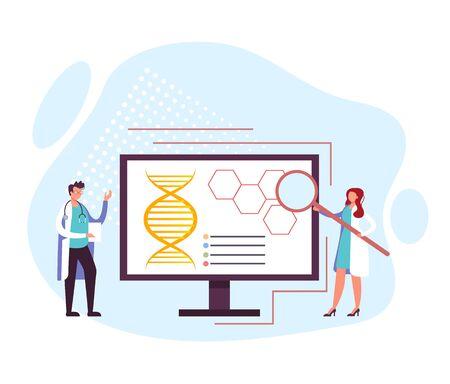 Laboratory medical diagnostics concept. Vector flat graphic design cartoon illustration  イラスト・ベクター素材