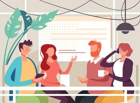 Business conference coffee break teamwork concept. Vector flat graphic design cartoon illustration
