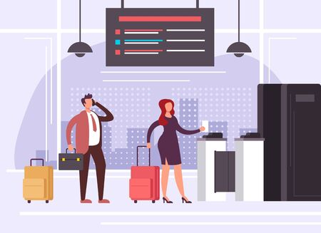 People waiting in airport terminal station. Travel banner concept. Vector flat graphic design cartoon illustration Иллюстрация