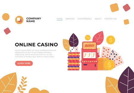 Internet online casino game concept. Vector flat graphic design illustration Фото со стока - 129892603