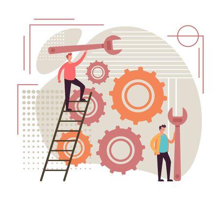 Digital agency support concept. Vector flat graphic design illustration
