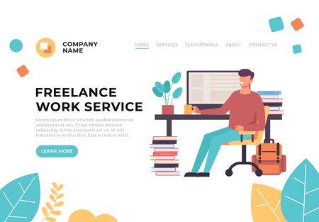 Home freelance work business concept. Vector graphic design flat cartoon illustration Illustration