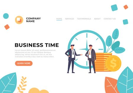Successful business time working start up concept. Vector graphic design flat cartoon illustration