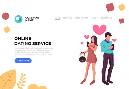 Online-Dating-Banner-Konzept. Flache Karikaturillustration des Vektorgraphikdesigns