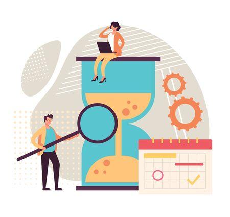 Time management hourglass teamwork concept. Vector graphic design flat cartoon illustration