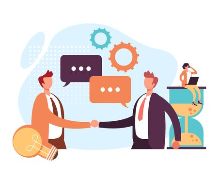 Strategic business office workers partnership partnership concept. Vector graphic design flat cartoon illustration