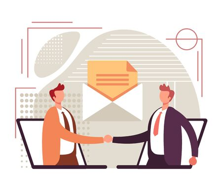 Online web partnership handshake concept. Vector graphic design flat cartoon illustration Çizim