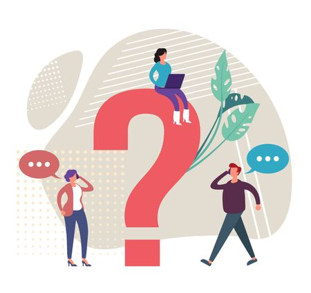 Search for answers concept. Vector graphic design flat cartoon illustration Stock Illustratie