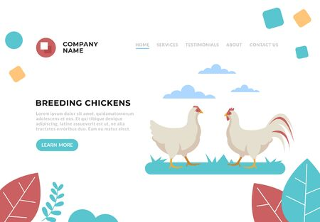 Breeding chickens farming web banner page concept. Vector flat cartoon graphic design illustration