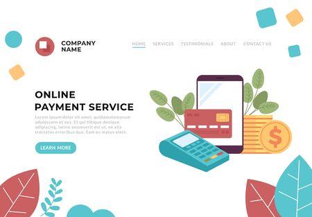 Online payment service money transaction concept. Vector flat cartoon graphic design illustration