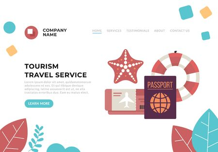 Tourism travel online service concept. Vector flat cartoon graphic design illustration