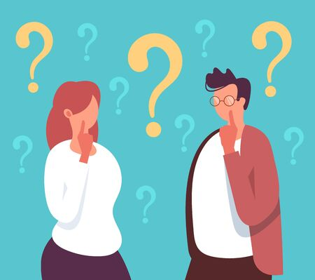 People man woman characters thinking together. Vector flat cartoon graphic design illustration Illustration