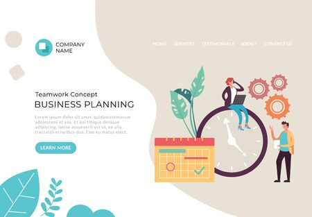 Business planning web page banner poster concept. Vector flat cartoon graphic design illustration