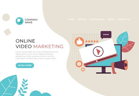 Video marketing web page banner poster concept. Vector flat cartoon graphic design illustration  イラスト・ベクター素材