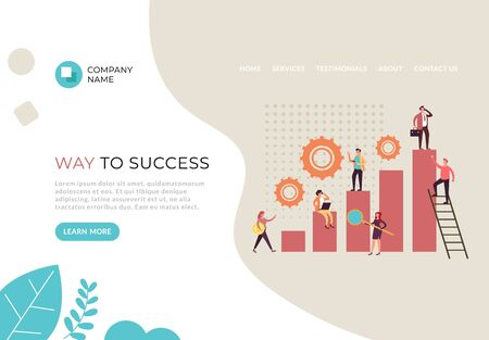 Way to business success banner poster web page illustration. Vector flat cartoon graphic design