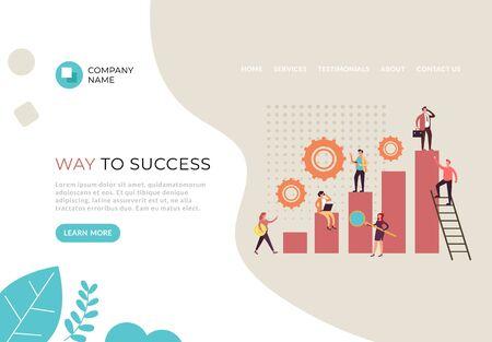 Way to business success banner poster web page illustration. Vector flat cartoon graphic design Banco de Imagens - 131695480